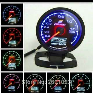 GReddys 62mm 2.5Inch RPM/VACUUM/Turbo Boost Gauge 7 Light Colors LCD Display With Sensor