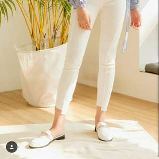 White Mule loafer bowbowshoes