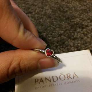 Pandora Sweetheart Ruby Red Ring