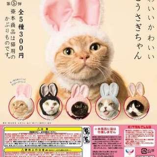 日本 貓咪頭巾 兔耳帽 頭套 扭蛋