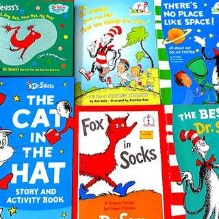 6 for $16: DR SEUSS: Dr Seuss's Wet Pet, Dry Pet, Your Pet, My Pet!; The Cat In The Hat Story And Activity Book; Fox in Socks; The Best of Dr Seuss; There's No Place like Space!; Oh, the THINGS you can DO that are GOOD for you!