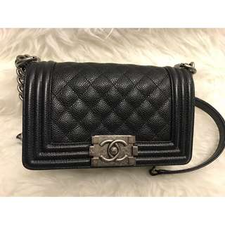 (米蘭直送)Chanel Leboy / Boy Medium Caviar Flap Bag Black(Gold Hardware) 荔枝皮 菱格 手袋
