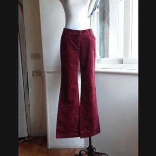 ESPRIT 酒紅 燈芯絨彈性直筒寬褲