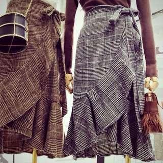 格紋荷葉裙。 穿二次。 Sogo巷子店面購買。1080原価。