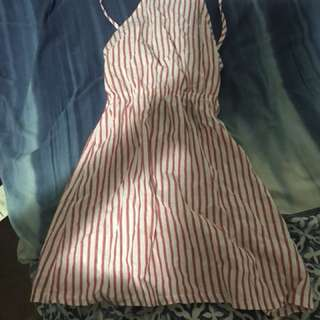Red and white stripped tie up dress