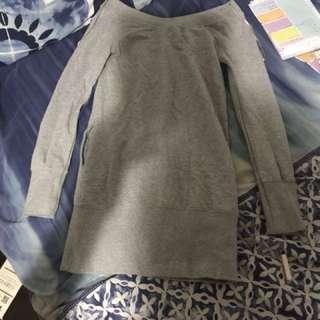 Grey long sleeve semi off the shoulder dress
