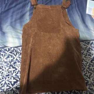Brown overall dress