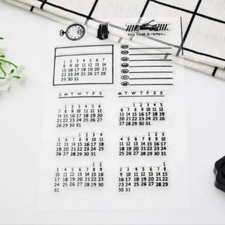 BEST SELLER Calendar clear cling stamp for planners, journals, diaries and scrapbook