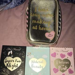 Too Faced makeup palettes and bag