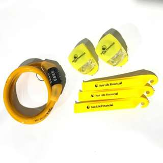 Sun Life Bike Safety Kit (Bike lock, Tire changing levers, Bike/helmet lights)