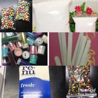 Slime supplies borax contact lens solution foam beads floam beads orbeez glitter mixing tool