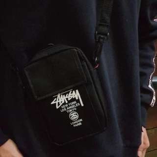 Stussy Black Canvas Mini Shoulder Crossbody Messenger Bag