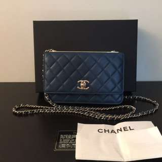 Chanel wallet on chain woc with golden plate