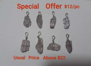 Very nice Kunzite pendant with 100% 925 Silver setting. Pinkish to blueish purple. Size range about 23x14mm. Special offer for this 8 pcs lot only at $12/pc. Pick your choice.