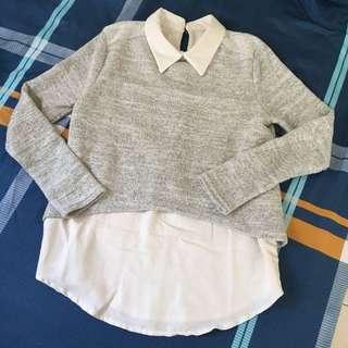 假兩件針織襯衫毛衣