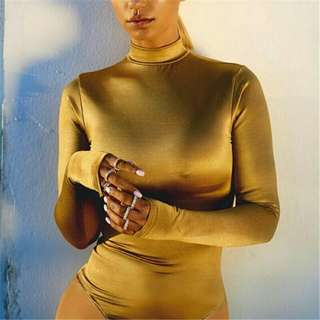 Sexy Metal Colour Gold Stand Bodysuit