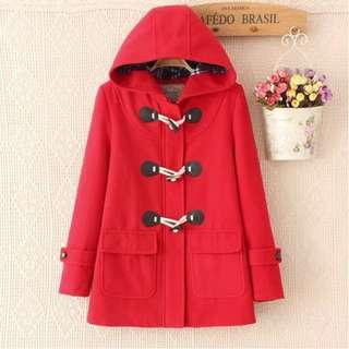 🚚 全新🌟日系鋪棉牛角扣正紅色連帽大衣 外套