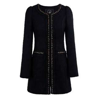 BN Inspired Thick Quilted Little Black Jacket with Chain