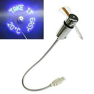 Usb fan with led temperature and message