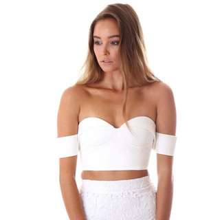 White Off Shoulder Crop