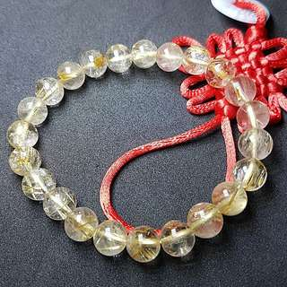 Rutilated Quartz Crystal Beads Bracelet diameter 8mm  发晶钛晶珠手镯