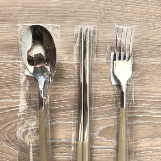 不鏽鋼304 褐色 環保餐具組 叉筷湯匙*1