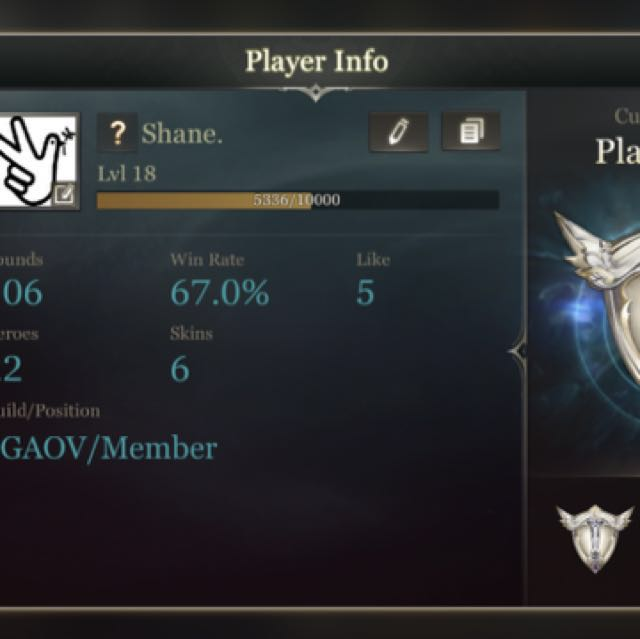 $50 Plat V AOV Garena Account Arena of Valor SEA SG, Toys & Games, Video  Gaming, Video Games on Carousell