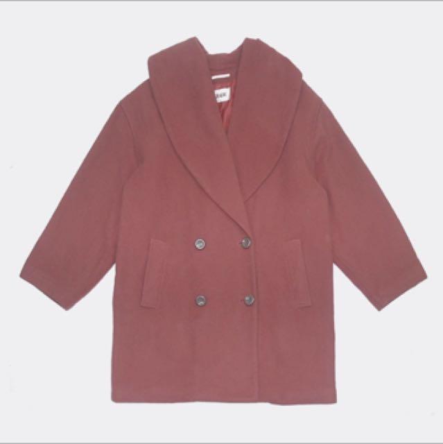 玫紅色古著大衣