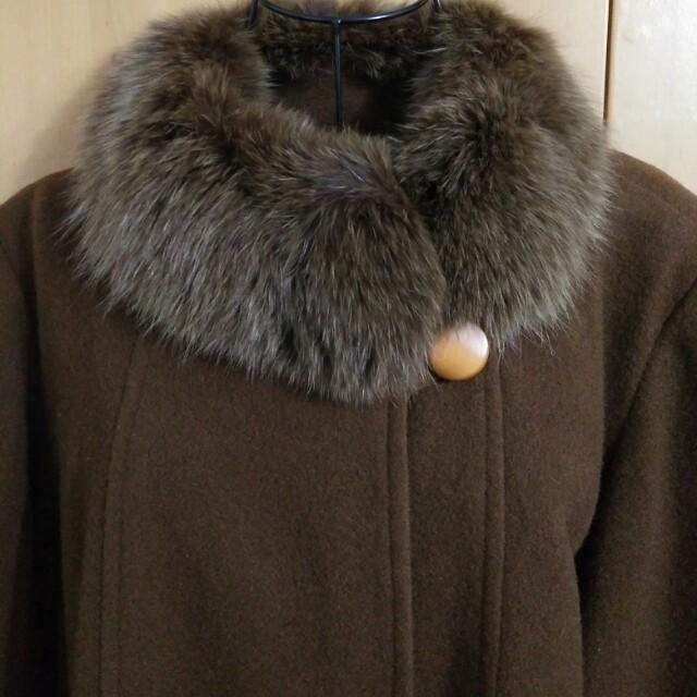 兩件九折。無盡的溫柔。輕奢狐狸毛環保皮草新件優質古著設計款八分袖咖啡色深駝色焦糖色羊毛毛呢洋裝大衣外套罩衫