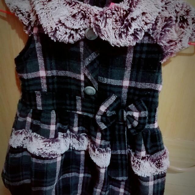 毛領格子洋裝