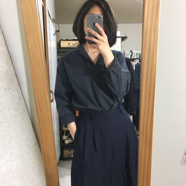 韓國購入 藍灰色硬挺版型襯衫