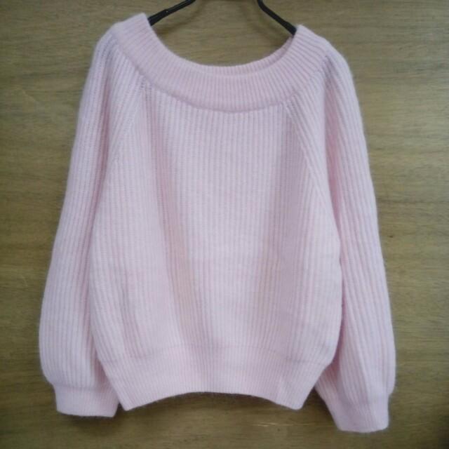 💘九折💘全新 可愛嫩粉紅寬領蓬袖毛衣
