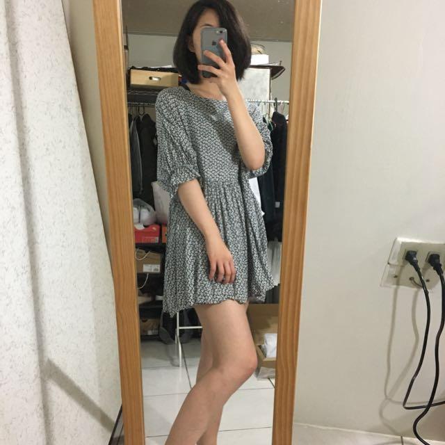 日系 韓系 碎花寬版 洋裝 上衣