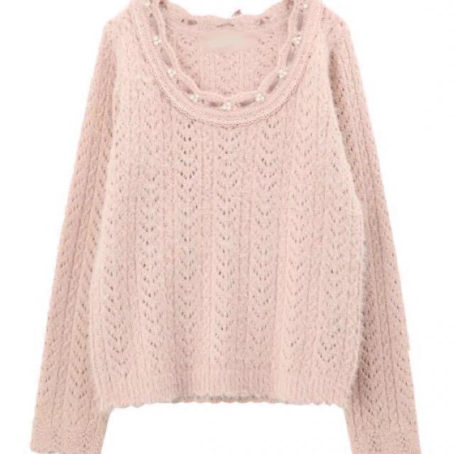 [新品入荷]甜美嫩粉 日本axes同款 釘珠蕾絲穿緞帶蝴蝶結鈎花鏤空針織衫毛衣