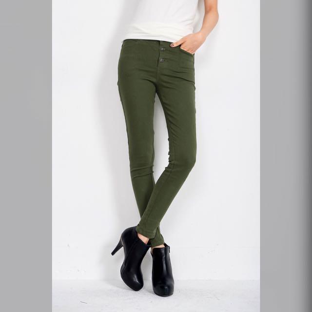 軍綠色個性長褲窄管褲貼腿褲煙管褲窄褲 s 26w