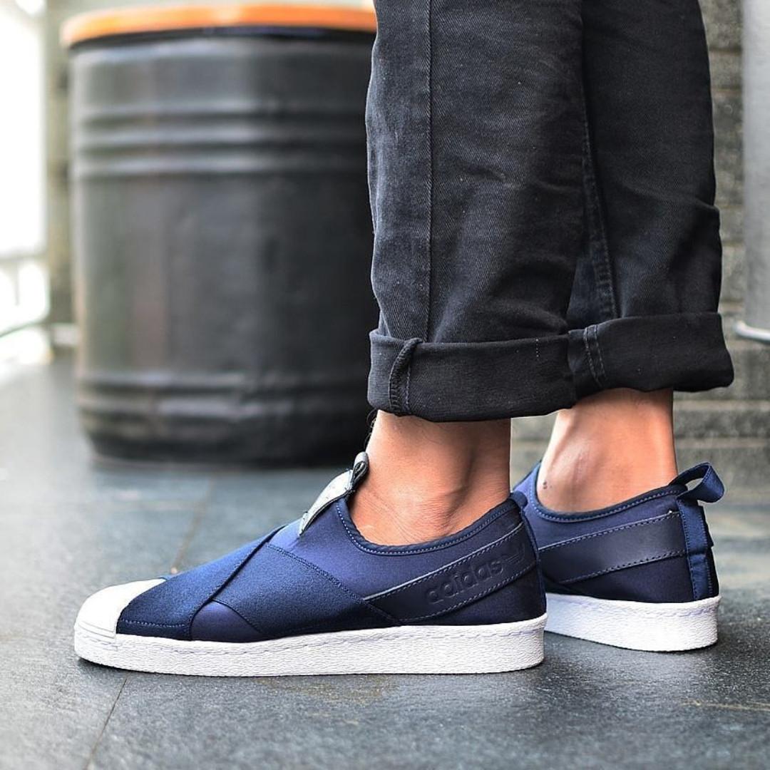 Adidas Superstar Slip On Collegiate Navy White on Carousell