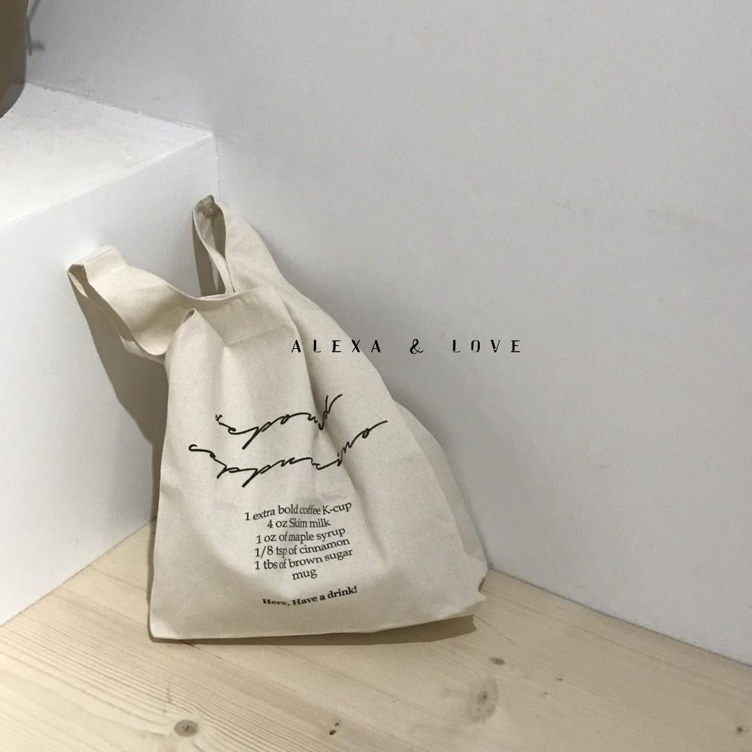 Alexa&Love 簡單韓國IG部落客必備手提環保帆布袋帆布包