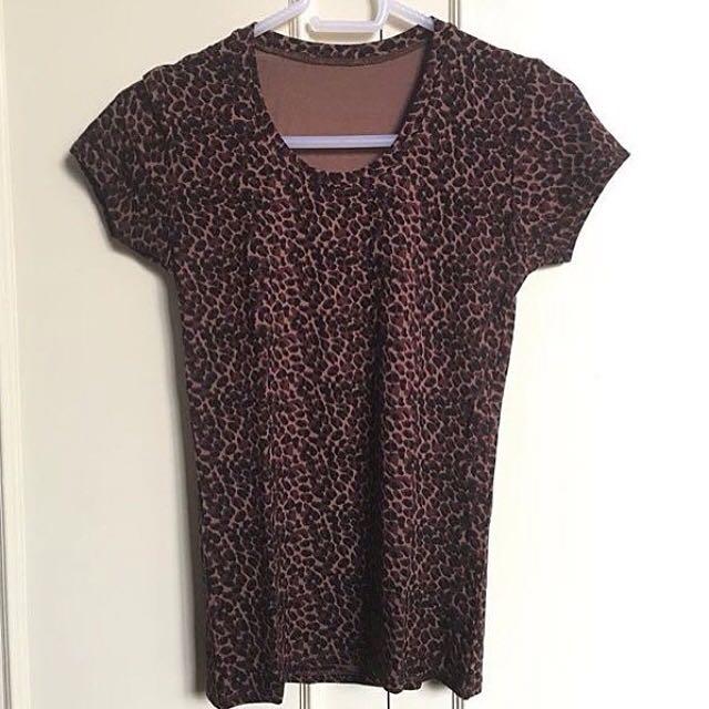 Animal print brown shirt