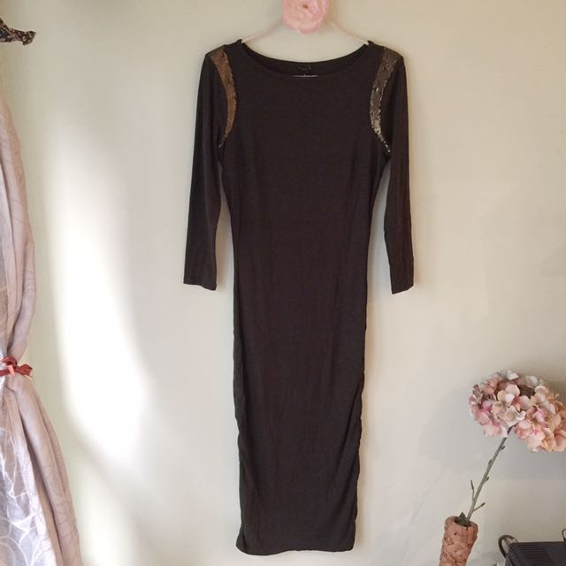 Ann Taylor midi-bodycon dress with side ruching (overrun)