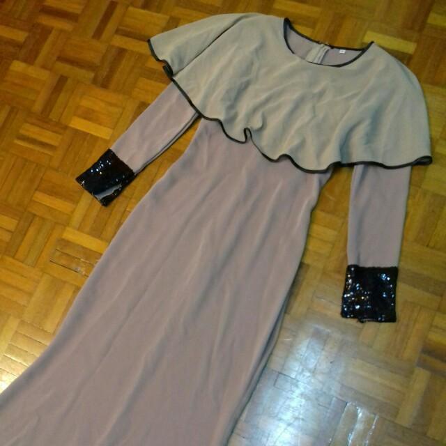 Arma couture jubah cape long dress