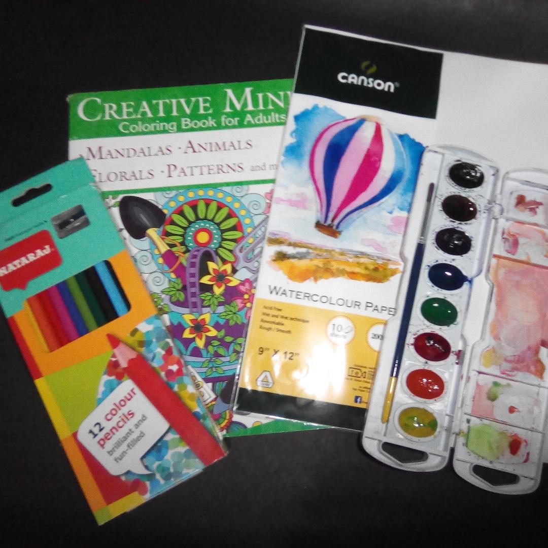 Art Bundle (Watercolors, Paper, Colored Pencil)