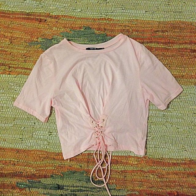 Baby pink cropped tee with corset tie waist