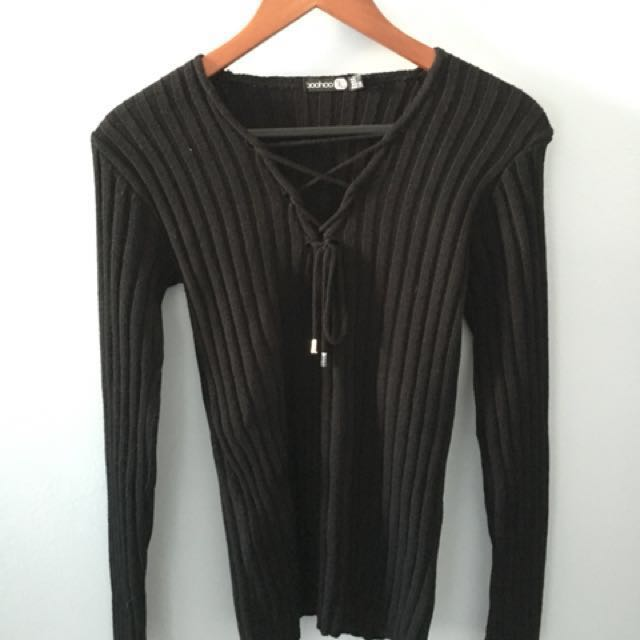 Black ribbed knit women's sweater