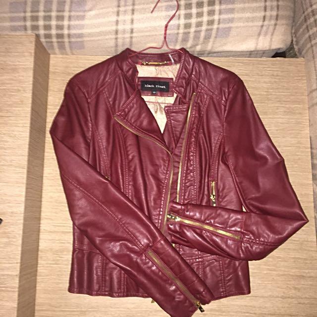 Black Rivet Leather Jacket in Maroon