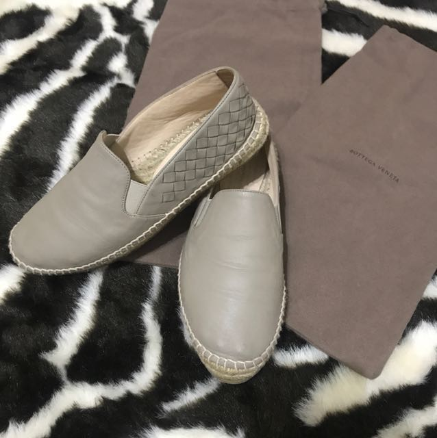 Bottega Veneta 羊皮鉛筆鞋草編鞋灰平底鞋 38