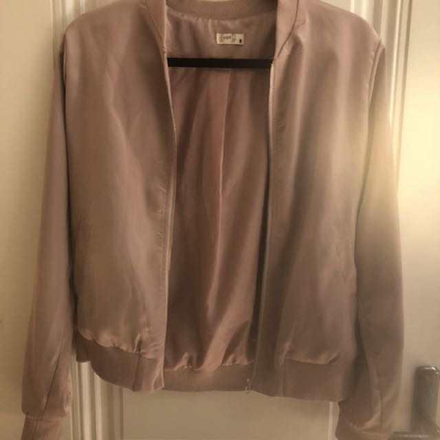 Brand new pink silky bomber
