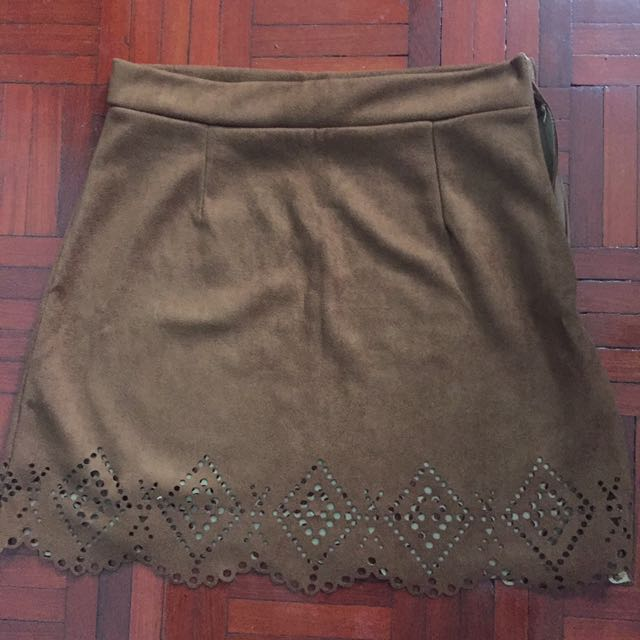🎈Brown suede cut out skirt
