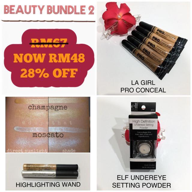Bundle 2: LA Girl Concealer + ELF Undereye Setting Powder + City Color Highlighting Wand