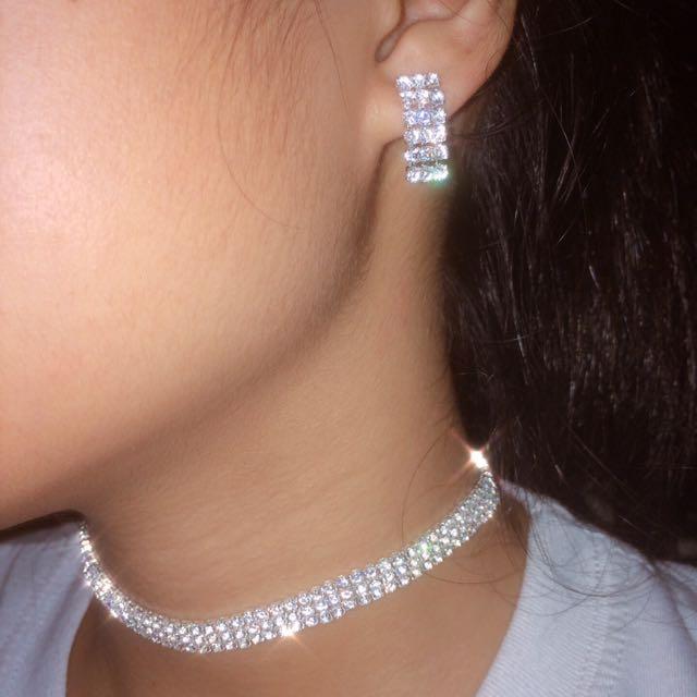 BUNDLE!! DIAMOND CHOKER WITH EARRINGS
