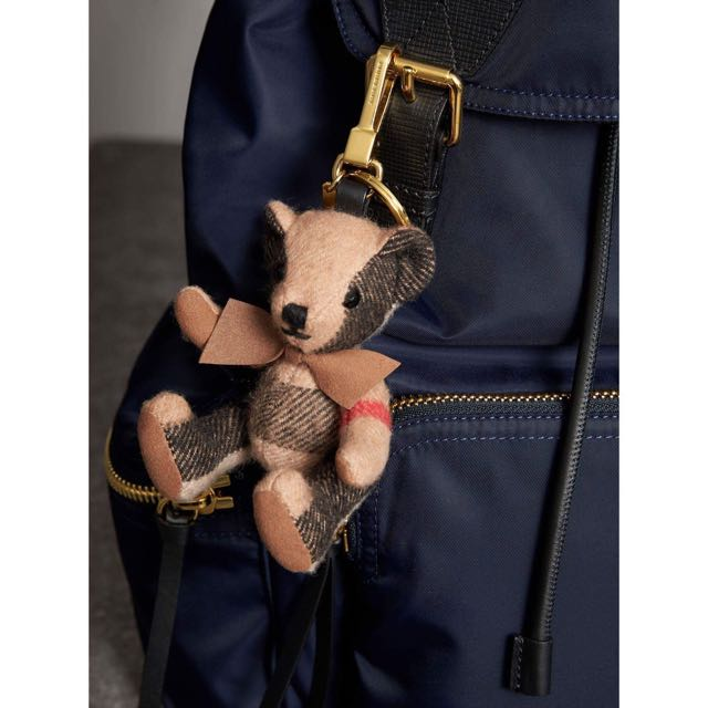 Burberry 格紋喀什米爾泰迪熊吊飾